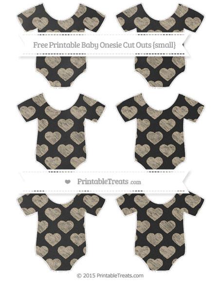 Free Khaki Heart Pattern Chalk Style Small Baby Onesie Cut Outs