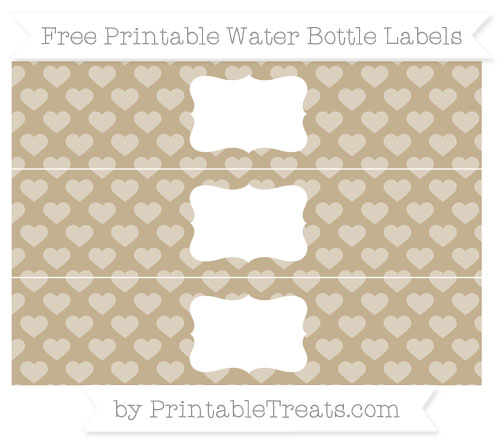 Free Khaki Heart Pattern Water Bottle Labels
