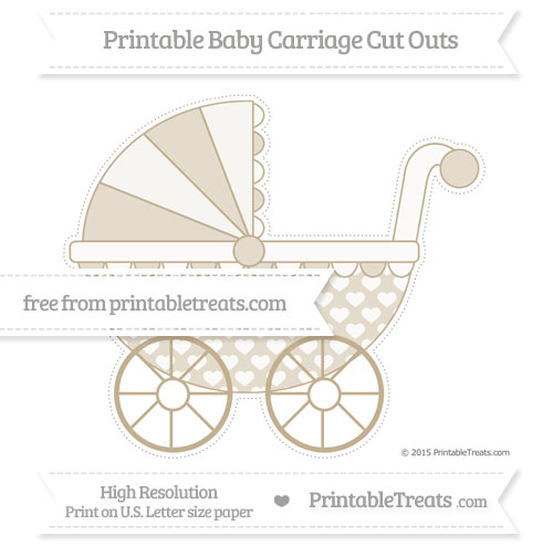 Free Khaki Heart Pattern Extra Large Baby Carriage Cut Outs