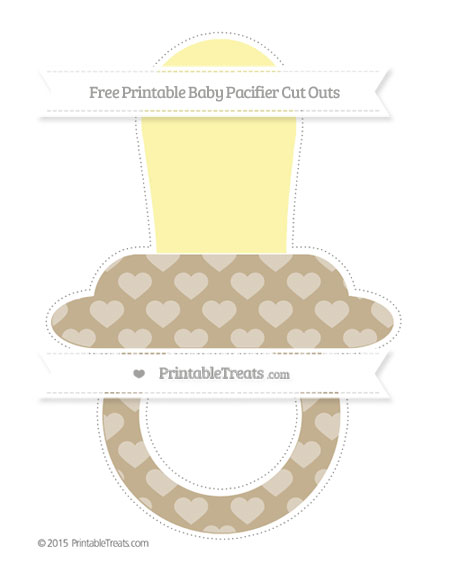 Free Khaki Heart Pattern Extra Large Baby Pacifier Cut Outs