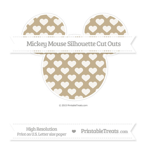 Free Khaki Heart Pattern Extra Large Mickey Mouse Silhouette Cut Outs