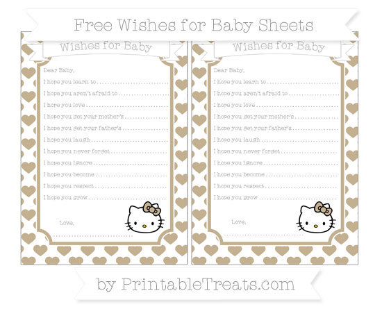 Free Khaki Heart Pattern Hello Kitty Wishes for Baby Sheets