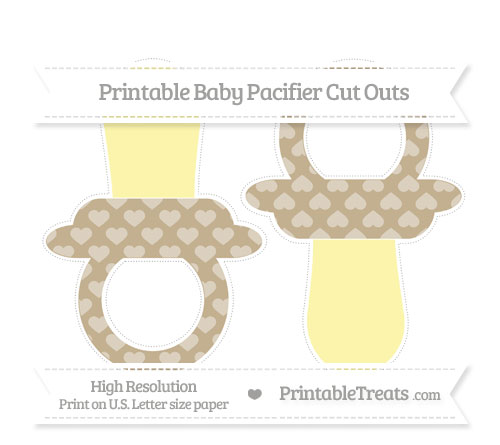 Free Khaki Heart Pattern Large Baby Pacifier Cut Outs