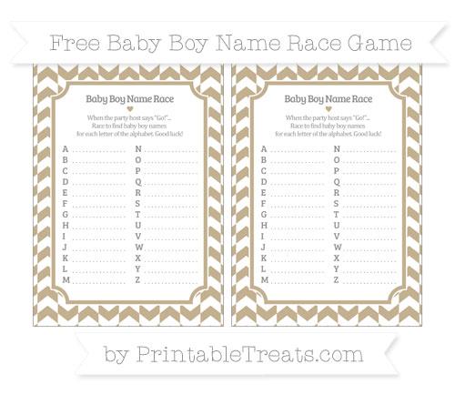 Free Khaki Herringbone Pattern Baby Boy Name Race Game