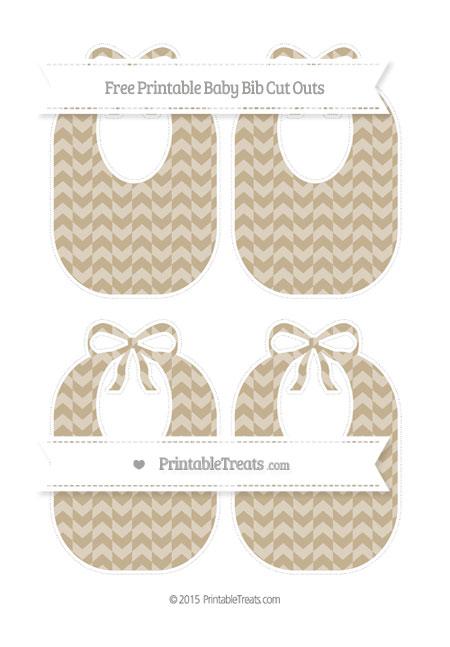 Free Khaki Herringbone Pattern Medium Baby Bib Cut Outs
