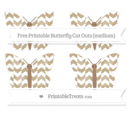 Free Khaki Herringbone Pattern Medium Butterfly Cut Outs