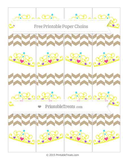 Free Khaki Herringbone Pattern Princess Tiara Paper Chains