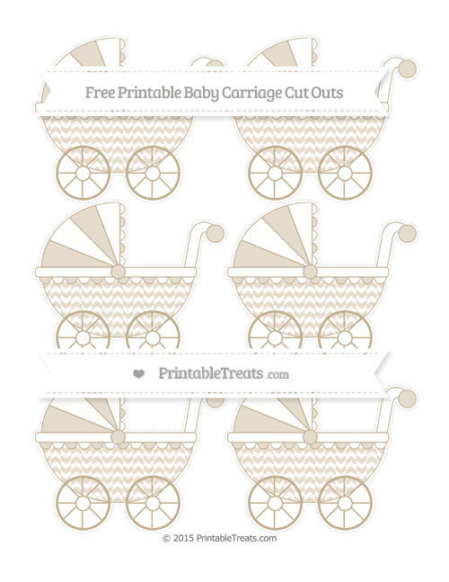 Free Khaki Herringbone Pattern Small Baby Carriage Cut Outs