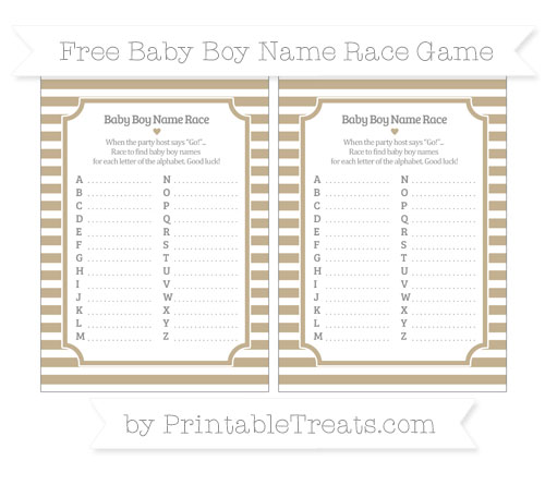 Free Khaki Horizontal Striped Baby Boy Name Race Game