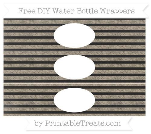 Free Khaki Horizontal Striped Chalk Style DIY Water Bottle Wrappers