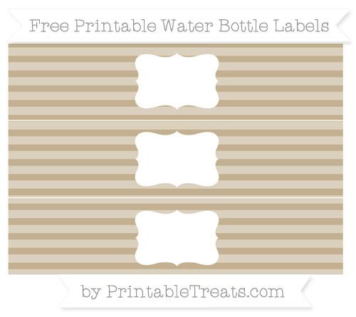 Free Khaki Horizontal Striped Water Bottle Labels