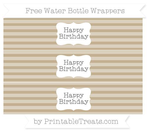 Free Khaki Horizontal Striped Happy Birhtday Water Bottle Wrappers