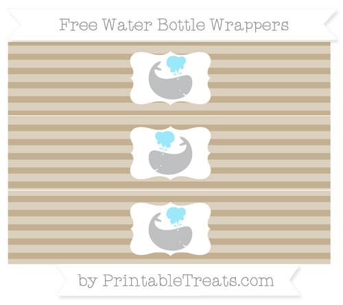 Free Khaki Horizontal Striped Whale Water Bottle Wrappers