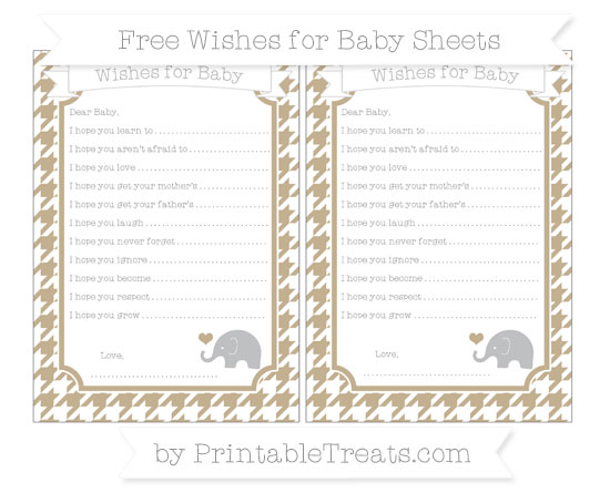 Free Khaki Houndstooth Pattern Baby Elephant Wishes for Baby Sheets