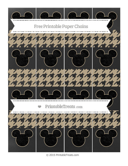 Free Khaki Houndstooth Pattern Chalk Style Mickey Mouse Paper Chains