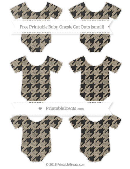 Free Khaki Houndstooth Pattern Chalk Style Small Baby Onesie Cut Outs