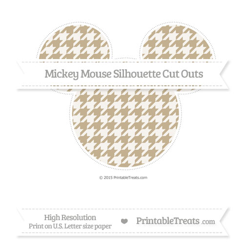 Free Khaki Houndstooth Pattern Extra Large Mickey Mouse Silhouette Cut Outs