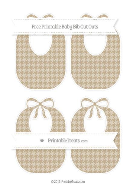 Free Khaki Houndstooth Pattern Medium Baby Bib Cut Outs