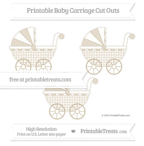 Free Khaki Houndstooth Pattern Medium Baby Carriage Cut Outs