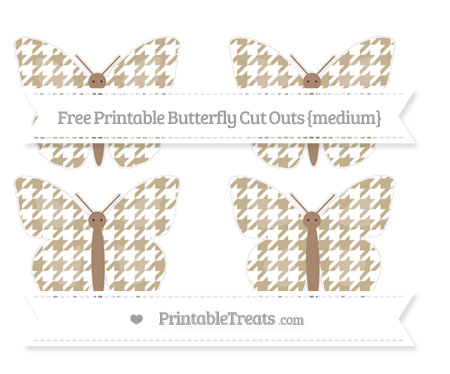 Free Khaki Houndstooth Pattern Medium Butterfly Cut Outs