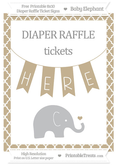 Free Khaki Moroccan Tile Baby Elephant 8x10 Diaper Raffle Ticket Sign