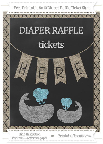 Free Khaki Moroccan Tile Chalk Style Baby Whale 8x10 Diaper Raffle Ticket Sign