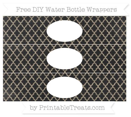 Free Khaki Moroccan Tile Chalk Style DIY Water Bottle Wrappers