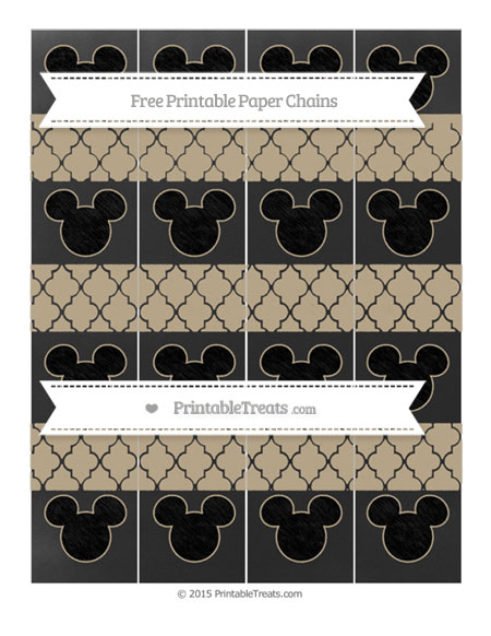 Free Khaki Moroccan Tile Chalk Style Mickey Mouse Paper Chains