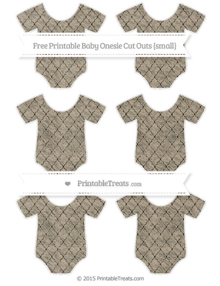 Free Khaki Moroccan Tile Chalk Style Small Baby Onesie Cut Outs