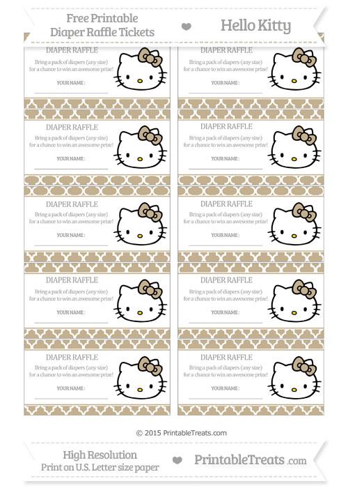 Free Khaki Moroccan Tile Hello Kitty Diaper Raffle Tickets