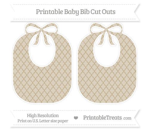 Free Khaki Moroccan Tile Large Baby Bib Cut Outs