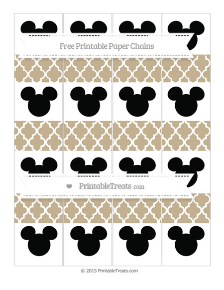 Free Khaki Moroccan Tile Mickey Mouse Paper Chains