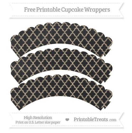 Free Khaki Moroccan Tile Pattern Chalk Style Scalloped Cupcake Wrappers