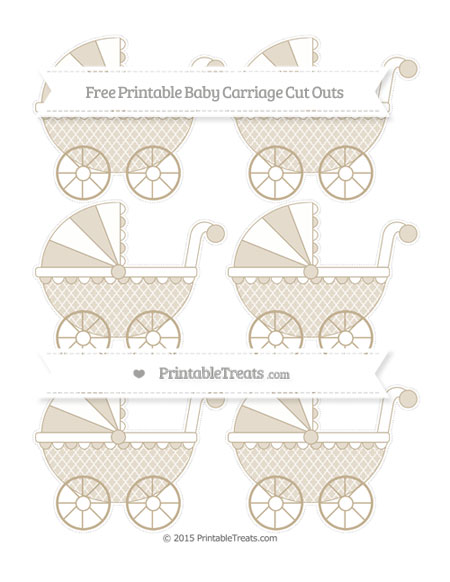 Free Khaki Moroccan Tile Small Baby Carriage Cut Outs