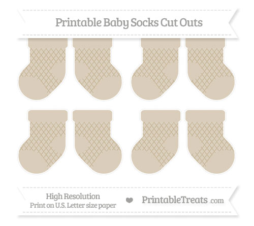 Free Khaki Moroccan Tile Small Baby Socks Cut Outs