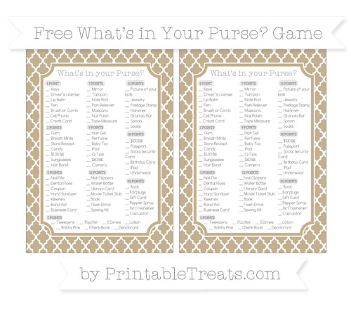 Free Khaki Moroccan Tile What's in Your Purse Baby Shower Game