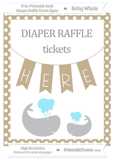 Free Khaki Polka Dot Baby Whale 8x10 Diaper Raffle Ticket Sign