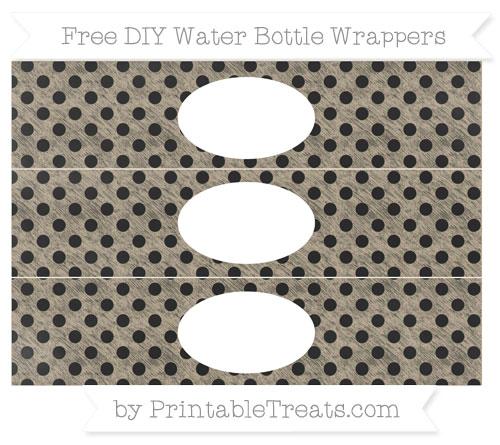 Free Khaki Polka Dot Chalk Style DIY Water Bottle Wrappers