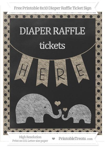 Free Khaki Polka Dot Chalk Style Elephant 8x10 Diaper Raffle Ticket Sign