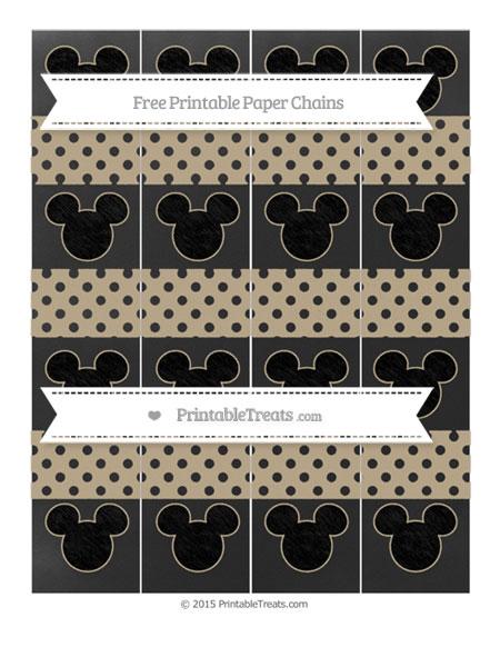Free Khaki Polka Dot Chalk Style Mickey Mouse Paper Chains