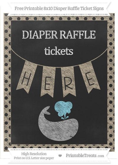 Free Khaki Polka Dot Chalk Style Whale 8x10 Diaper Raffle Ticket Sign