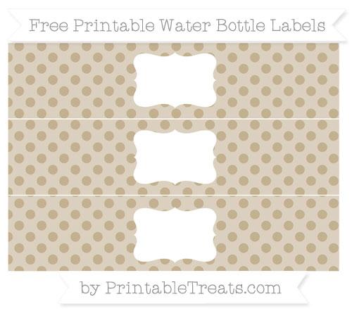 Free Khaki Polka Dot Water Bottle Labels