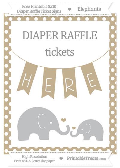 Free Khaki Polka Dot Elephant 8x10 Diaper Raffle Ticket Sign