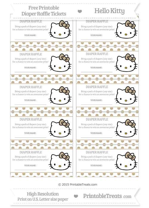 Free Khaki Polka Dot Hello Kitty Diaper Raffle Tickets