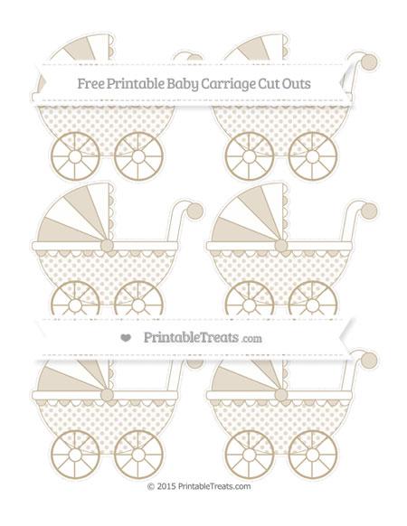 Free Khaki Polka Dot Small Baby Carriage Cut Outs