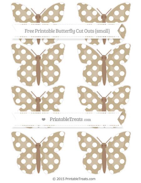 Free Khaki Polka Dot Small Butterfly Cut Outs