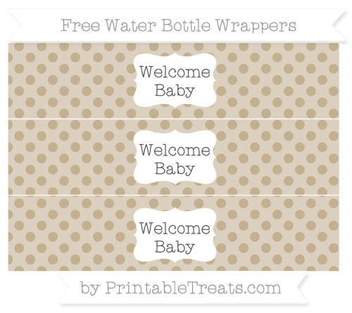 Free Khaki Polka Dot Welcome Baby Water Bottle Wrappers