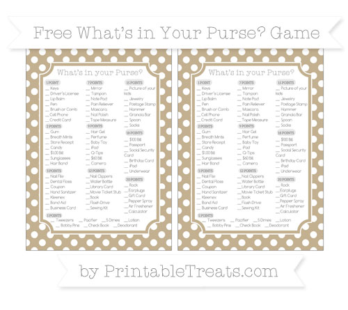 Free Khaki Polka Dot What's in Your Purse Baby Shower Game