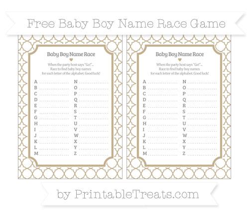 Free Khaki Quatrefoil Pattern Baby Boy Name Race Game