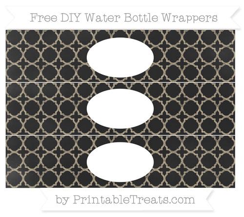 Free Khaki Quatrefoil Pattern Chalk Style DIY Water Bottle Wrappers